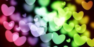 五颜六色的心脏有迷离背景 图库摄影