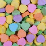 五颜六色的心脏背景。甜心糖果。情人节 免版税库存照片