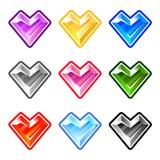 五颜六色的心脏金刚石 图库摄影