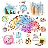 五颜六色的想法概念的企业infographic元素 库存照片