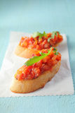 五颜六色的意大利bruschetta开胃小菜 图库摄影