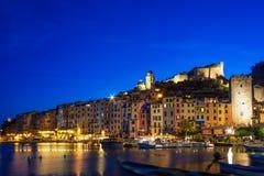 五颜六色的意大利portovenere海滨村庄 库存图片
