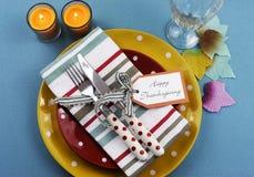 五颜六色的感恩餐桌设置 库存图片