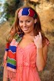 五颜六色的户外题头围巾妇女 库存图片