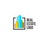 五颜六色的房地产机构商标,在白色,家庭概念象,摩天大楼的房子略写法导航例证 图库摄影