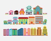 五颜六色的房子和大厦汇集集合 向量例证