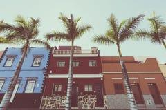 五颜六色的房子和棕榈树门面在典型的canarian街道,普埃尔托德拉克鲁斯,特内里费岛,西班牙上 图库摄影