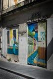 五颜六色的房子和街道画在老圣胡安波多黎各 库存图片