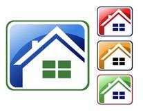 五颜六色的房子图标 免版税库存图片