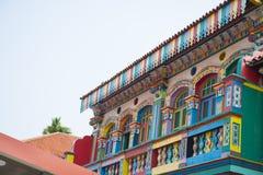五颜六色的房子在一点印度新加坡 免版税库存照片