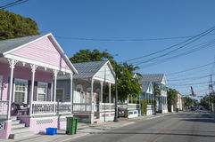 五颜六色的房子在基韦斯特岛 库存照片