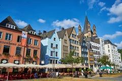五颜六色的房子在科隆,德国 库存图片