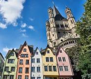五颜六色的房子在科隆,德国 免版税库存图片