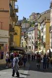 五颜六色的房子在里奥马焦雷 免版税库存照片