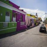 五颜六色的房子在BoKaap,开普敦,南非 免版税库存图片