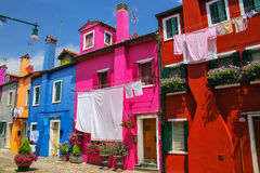 五颜六色的房子在Burano,威尼斯,意大利 库存图片