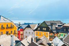 五颜六色的房子在Hallstatt村庄,奥地利 库存图片