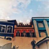 五颜六色的房子在Tanger 库存照片