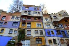 五颜六色的房子维也纳 库存照片