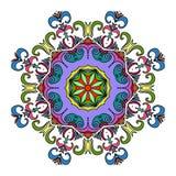 五颜六色的手拉的坛场,东方装饰元素,葡萄酒样式 库存图片