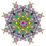 五颜六色的手拉的坛场,东方装饰元素,葡萄酒样式 免版税库存照片