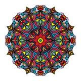 五颜六色的手拉的坛场,东方装饰元素,葡萄酒样式 库存照片