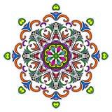 五颜六色的手拉的坛场,东方装饰元素,葡萄酒样式 图库摄影
