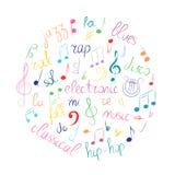 五颜六色的手拉的套音符 乱画高音谱号、低音谱号、笔记和在圈子安排的音乐样式 库存图片
