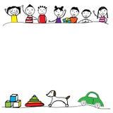 五颜六色的手拉的男孩和女孩 向量例证