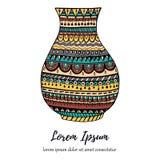 五颜六色的手拉的花瓶例证 免版税库存图片