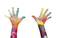 五颜六色的手 免版税库存照片