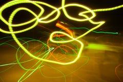 五颜六色的抽象光在晚上 库存照片