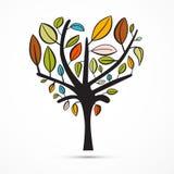 五颜六色的抽象心形的树 库存照片