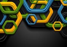 五颜六色的抽象技术六角形公司背景 向量例证