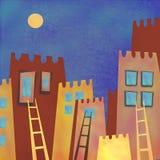 五颜六色的抽象摩天大楼城市在晚上 免版税图库摄影