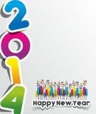 五颜六色的抽象新年快乐2014卡片 免版税库存照片