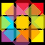 五颜六色的抽象方形的样式背景 平的设计 创造性的黄色桃红色蓝色紫罗兰色黑表面背景墙纸 Templ 库存图片