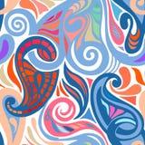 五颜六色的抽象无缝的佩兹利样式 免版税库存图片
