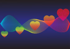 五颜六色的抽象波浪心率区域 免版税库存照片