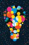 五颜六色的抽象电灯泡 免版税库存图片