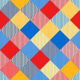 五颜六色的抽象简单的验查员镶边了几何无缝的样式,传染媒介 皇族释放例证