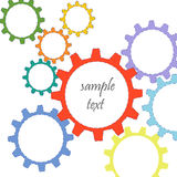 五颜六色的抽象齿轮传染媒介背景 免版税图库摄影