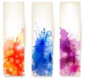 五颜六色的抽象水彩横幅。 免版税库存照片