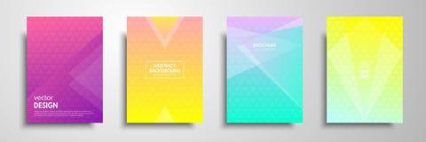 五颜六色的招贴模板设置了与图表几何元素 可适用为小册子,飞行物,横幅,盖子 免版税库存照片