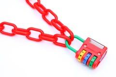 五颜六色的挂锁和链子 库存图片