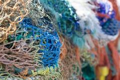 五颜六色的捕鱼网 库存图片