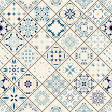 从五颜六色的摩洛哥瓦片,装饰品的兆华美的无缝的补缀品样式 免版税图库摄影