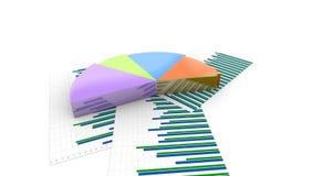 五颜六色的收入分布形象图,增长的图表饼财政动画 皇族释放例证