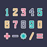 五颜六色的数字和算术标志 库存照片