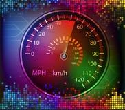 五颜六色的数字式声音和汽车车速表背景传染媒介 免版税图库摄影